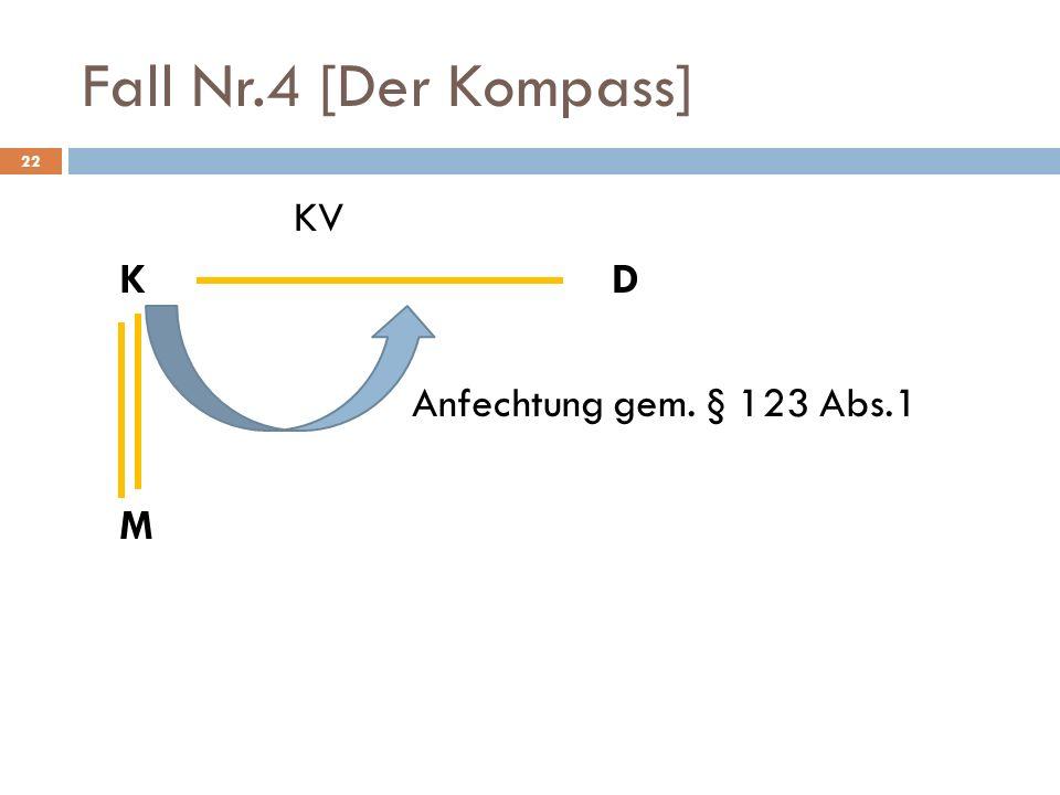 Fall Nr.4 [Der Kompass] KV K D Anfechtung gem. § 123 Abs.1 M